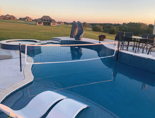 custom designed hot tub and pool by grotto pool designs